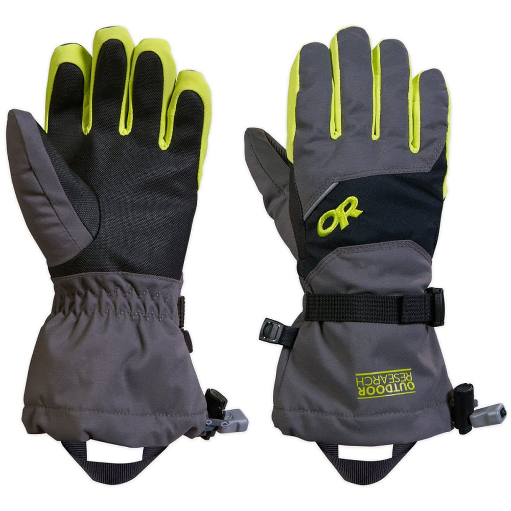 OUTDOOR RESEARCH Kids' Adrenaline Gloves™ - CHARCOAL/LEMON