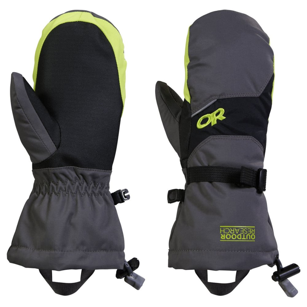 OUTDOOR RESEARCH Boys' Adrenaline Mitts - CHARCOAL/LEMON