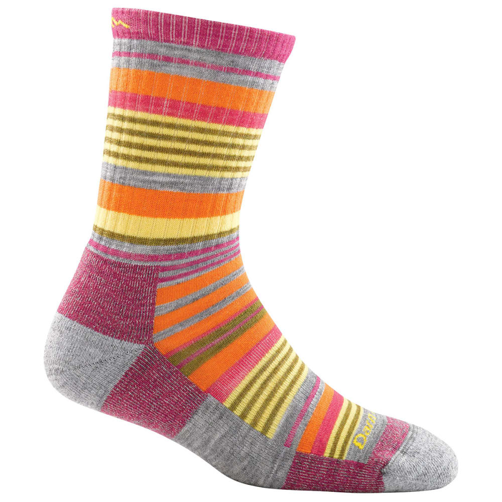 DARN TOUGH Girl's Sierra Stripe Micro Crew Light Cushion Socks - LIGHT GREY