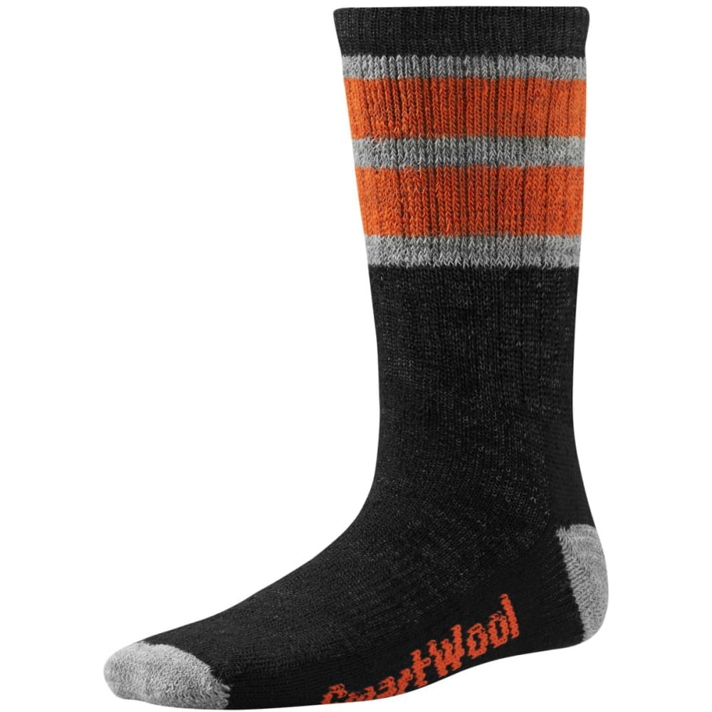 SMARTWOOL Kids' Striped Hike Medium Crew Socks - BLACK