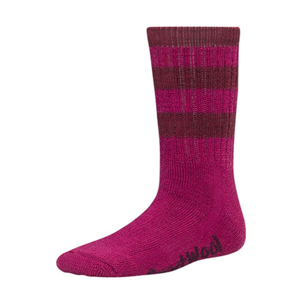 SMARTWOOL Kids' Striped Hike Medium Crew Socks - BERRY