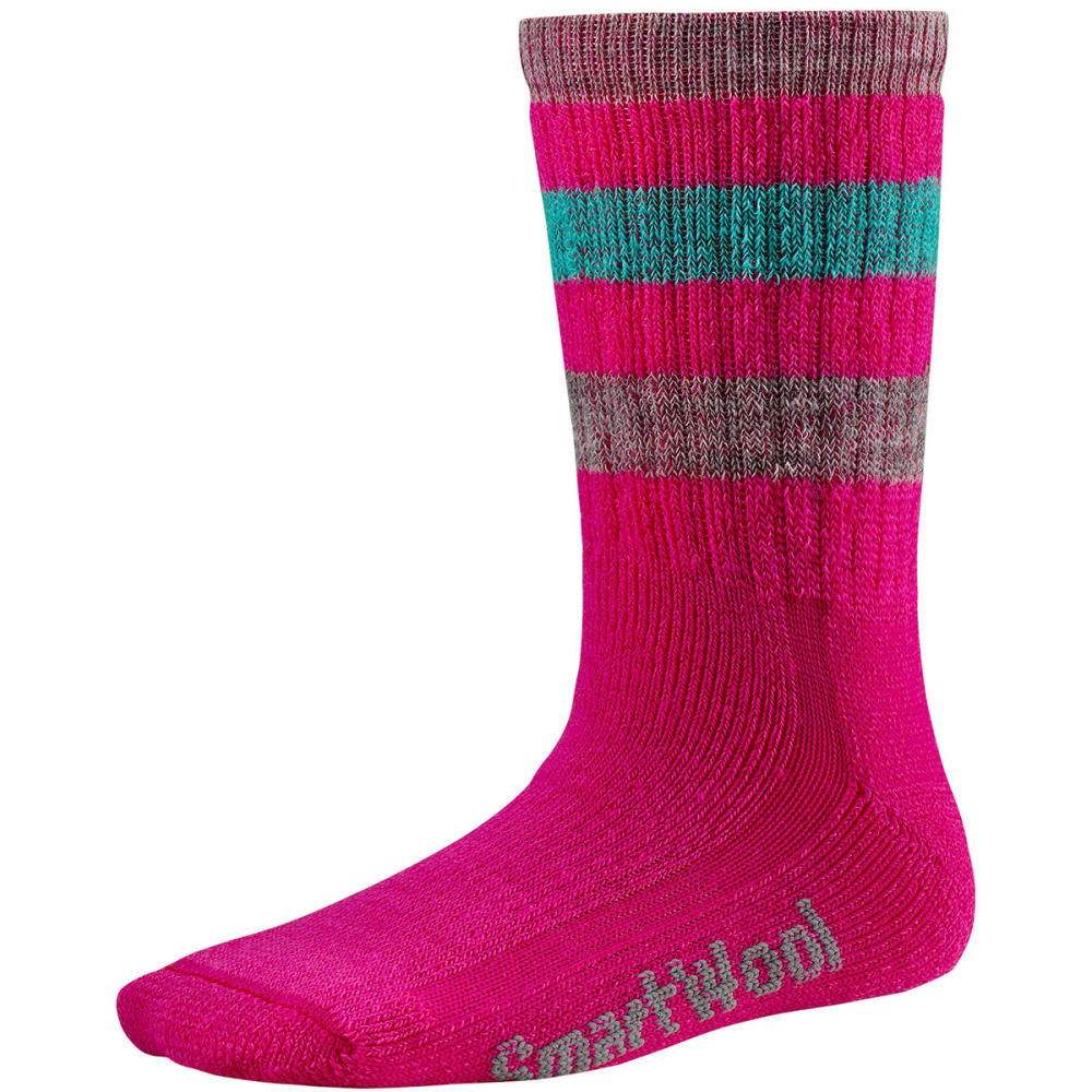 SMARTWOOL Kids' Striped Hike Medium Crew Socks - BRIGHT PINK