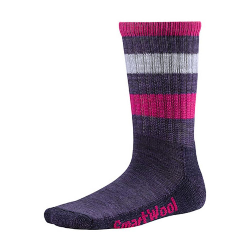 SMARTWOOL Kids' Striped Hike Light Crew Socks - DESERT PURPLE