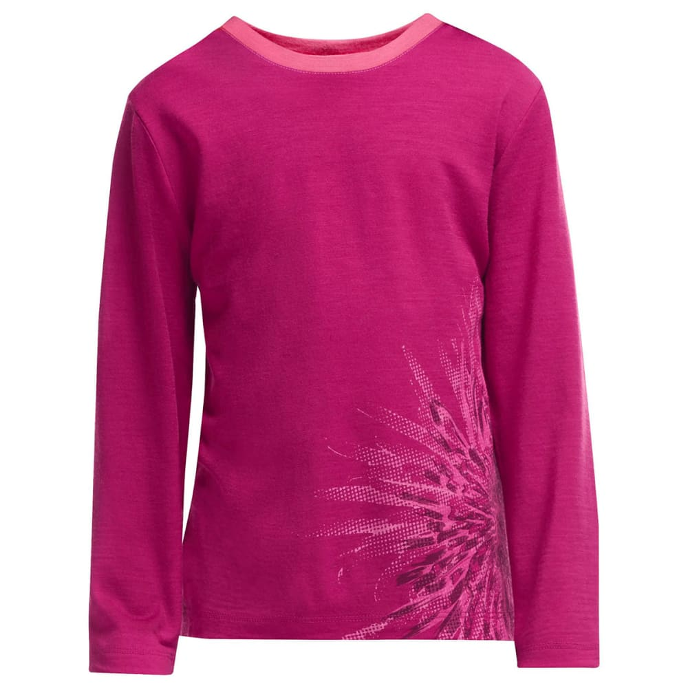 ICEBREAKER Kids' Tech Long Sleeve Crew - RASPBERRY