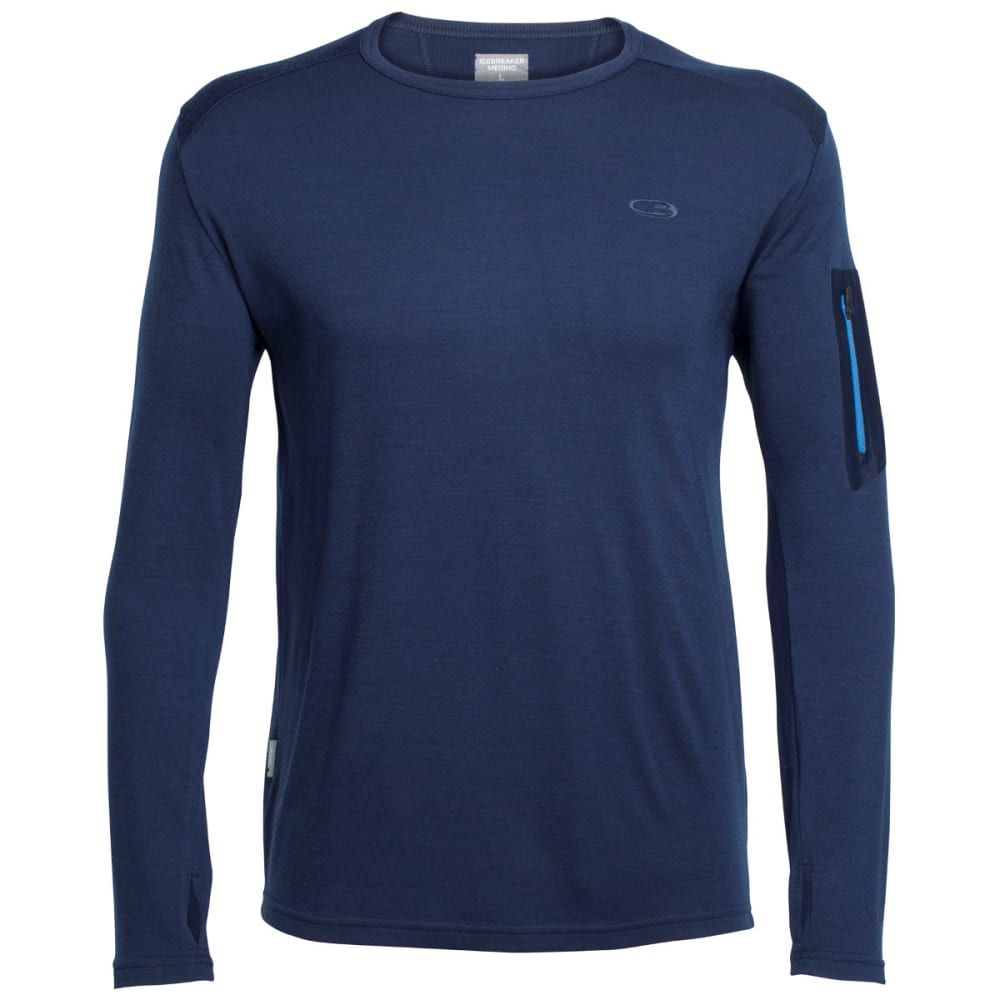 ICEBREAKER Men's Apex Long Sleeve Crewe - ADMIRAL/ADMIRAL/PELR