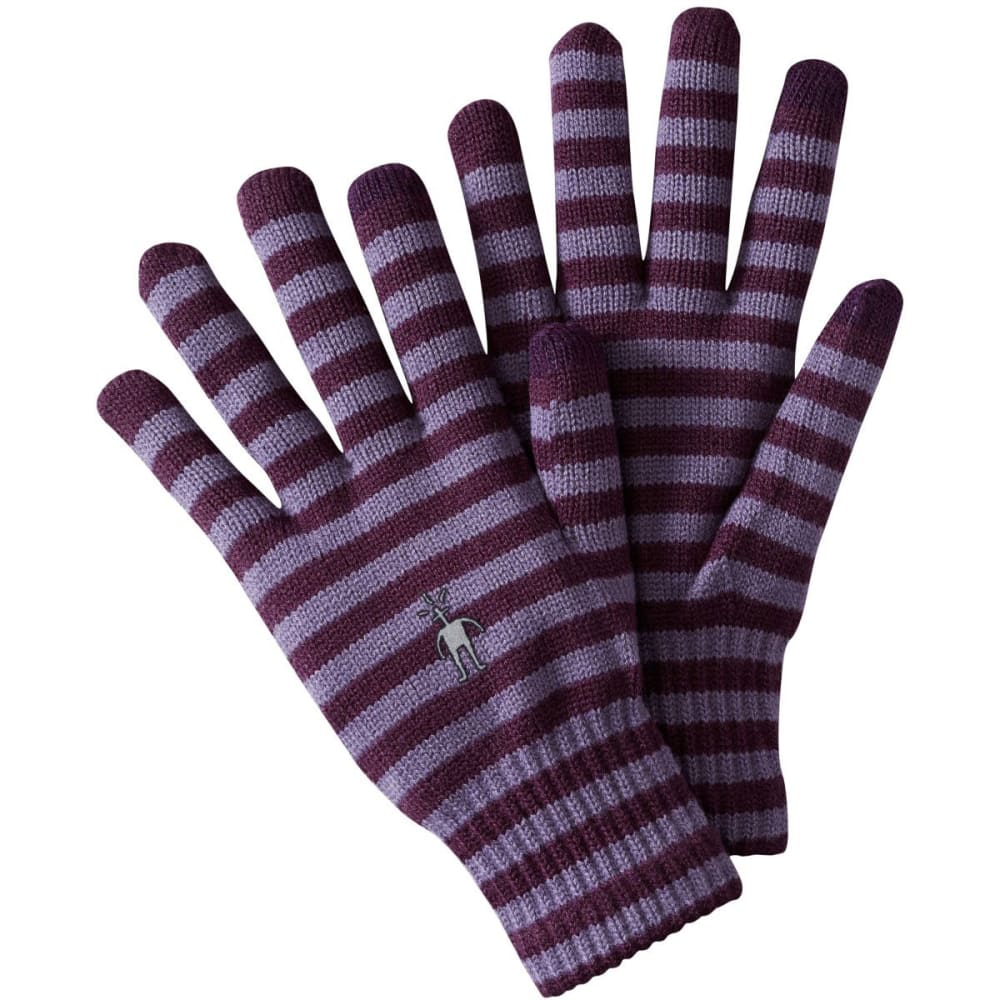 SMARTWOOL Striped Liner Gloves - AUBERGINE