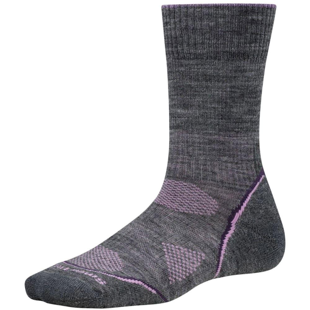 SMARTWOOL Women's PhD Outdoor Light Crew Socks - MEDIUM GREY/DESERT P