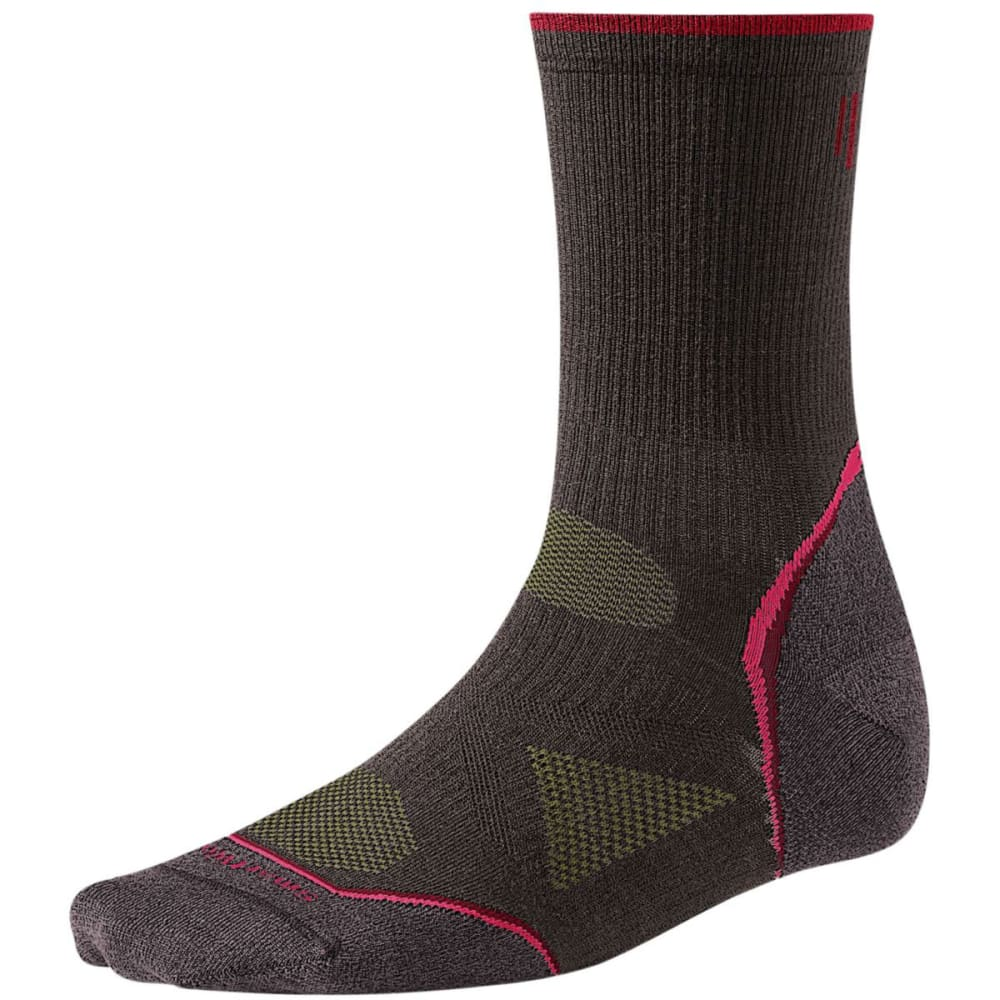 SMARTWOOL Women's PhD Outdoor Mid Crew Socks - TAUPE/RED