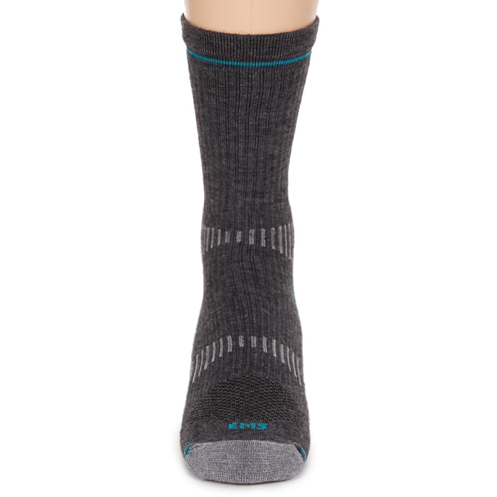 EMS® Women's Fast Mountain Lightweight Merino Wool Crew Socks, Charcoal - CHARCOAL
