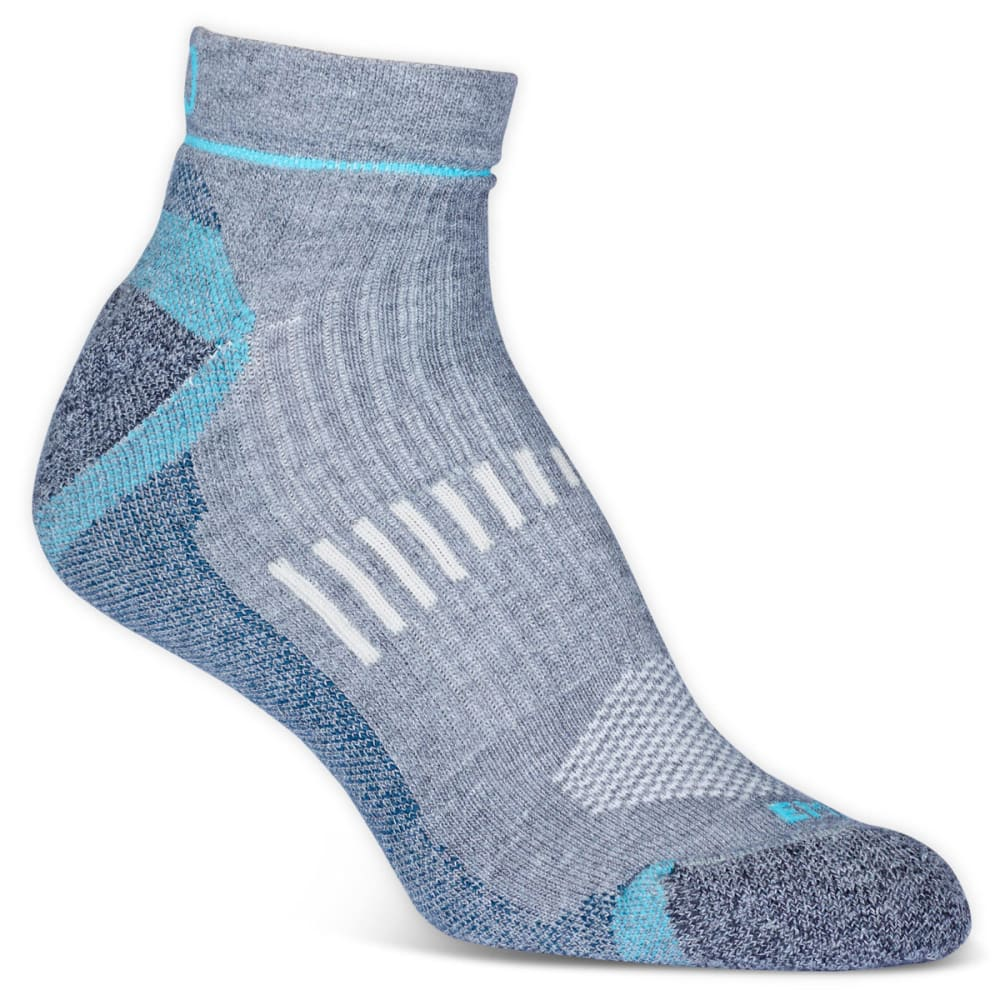 Ems Women's Fast Mountain Lightweight Coolmax Quarter Socks, Grey  - Black EC2W