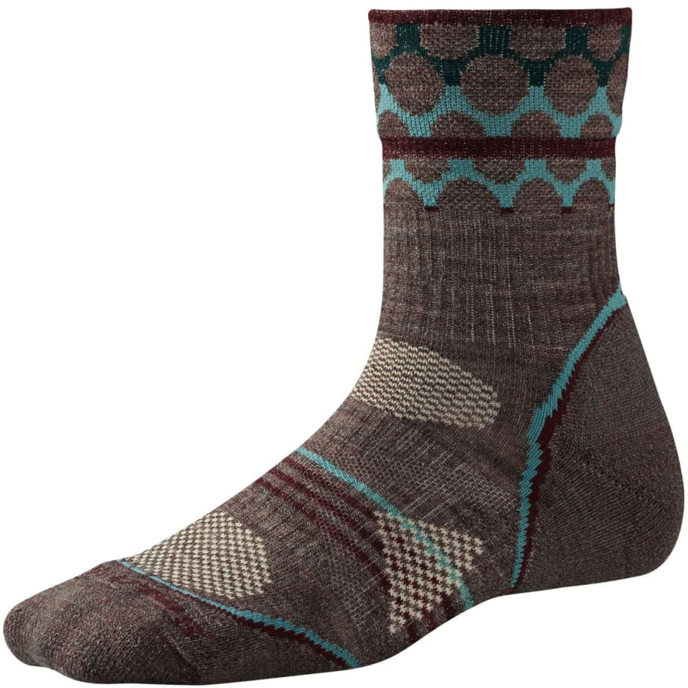 SMARTWOOL Women's PhD Outdoor Light Pattern Mid Crew Socks - TAUPE