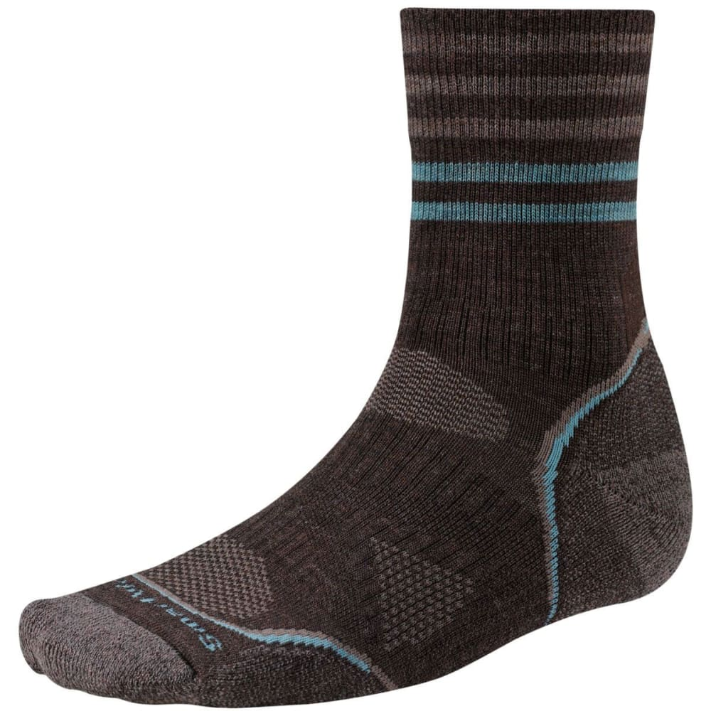 SMARTWOOL Men's PhD Outdoor Light Pattern Mid Crew Socks - BLACK