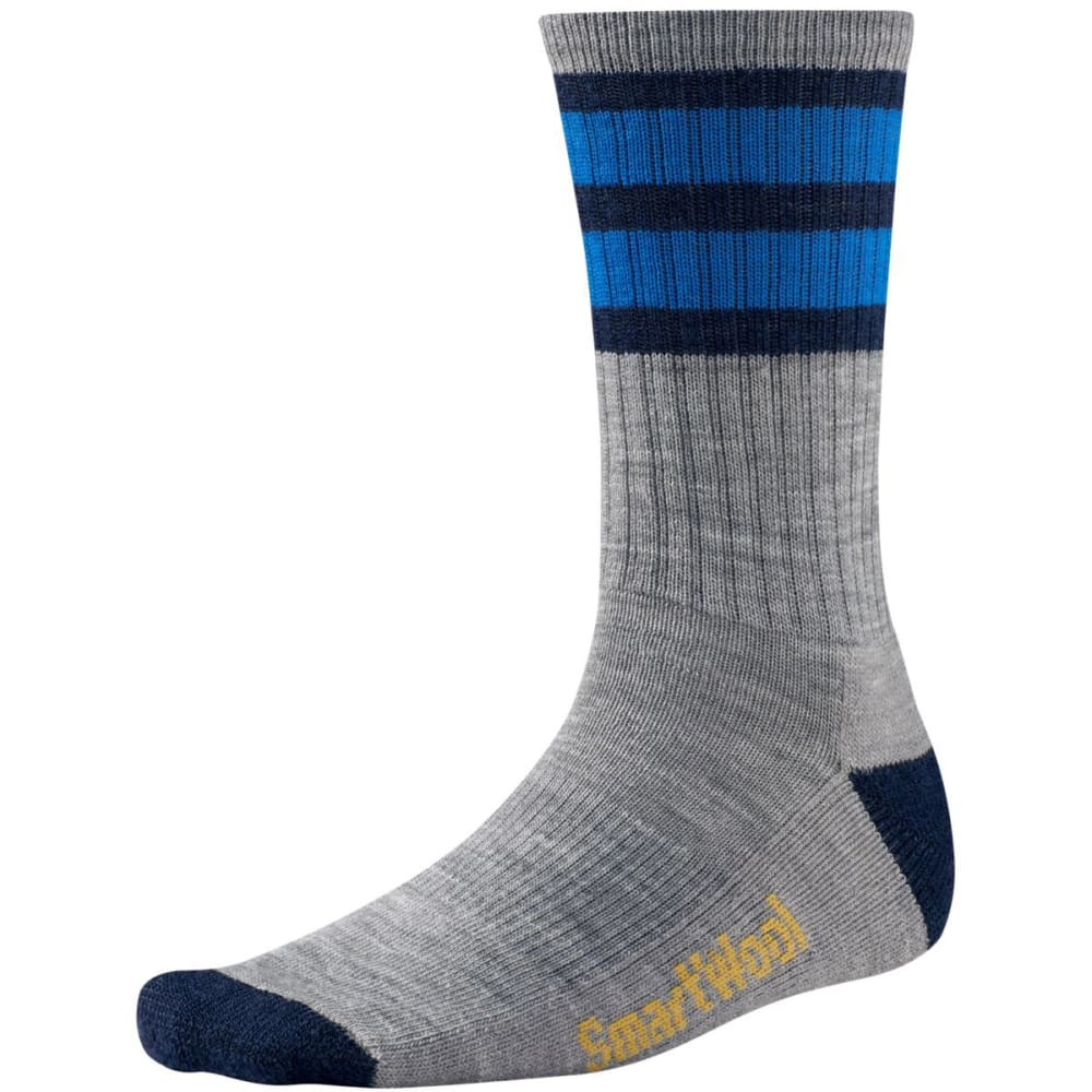 SMARTWOOL Men's Striped Hike Light Crew Socks - LIGHT GREY/NAVY-045