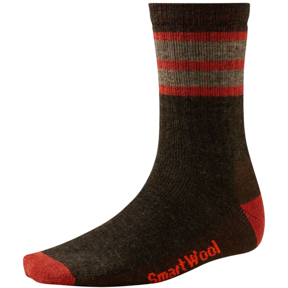 SMARTWOOL Men's Striped Hike Medium Crew Socks - CHESTNUT/MOAB RUST