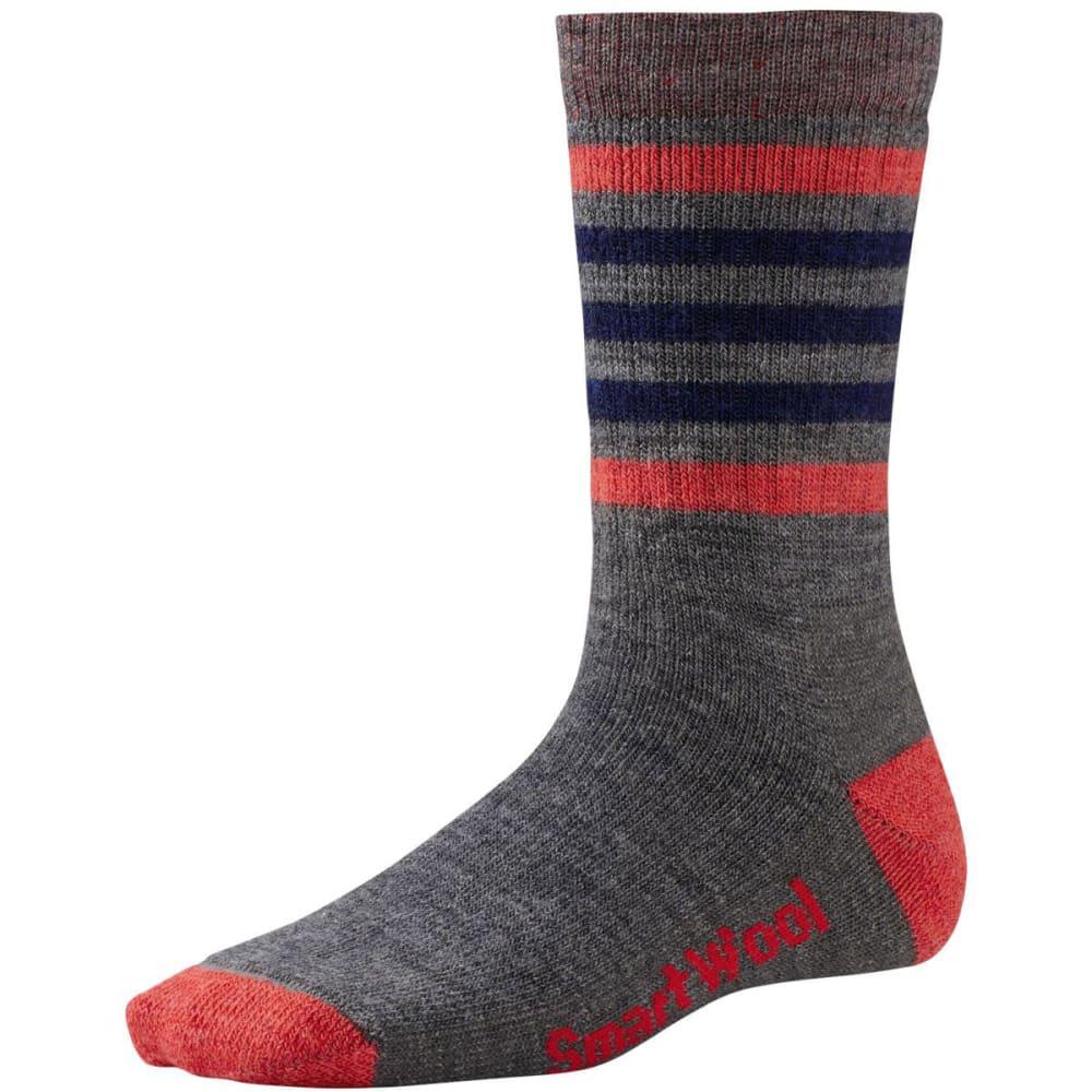 SMARTWOOL Women's Striped Hike Medium Crew Socks - GREY/HIBISCUS