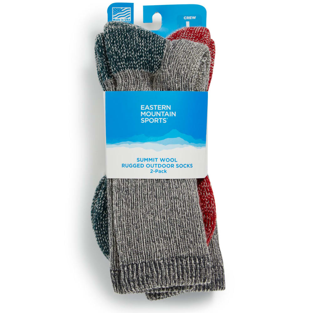EMS® Summit Wool Socks, 2 Pack - GREY/GREEN;GREY/RED