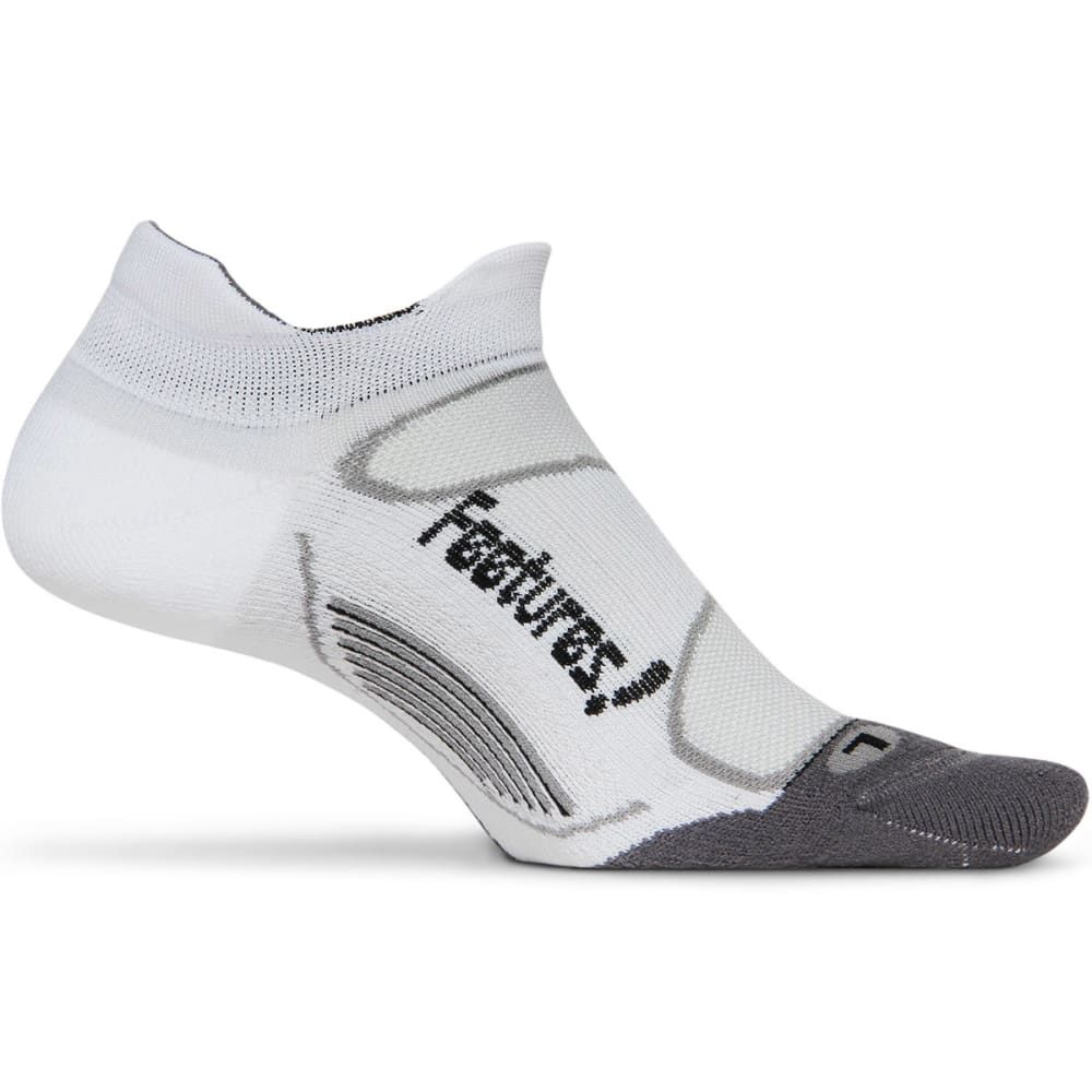 FEETURES! Men's Elite Light Cushion No Show Socks - WHITE/BLACK
