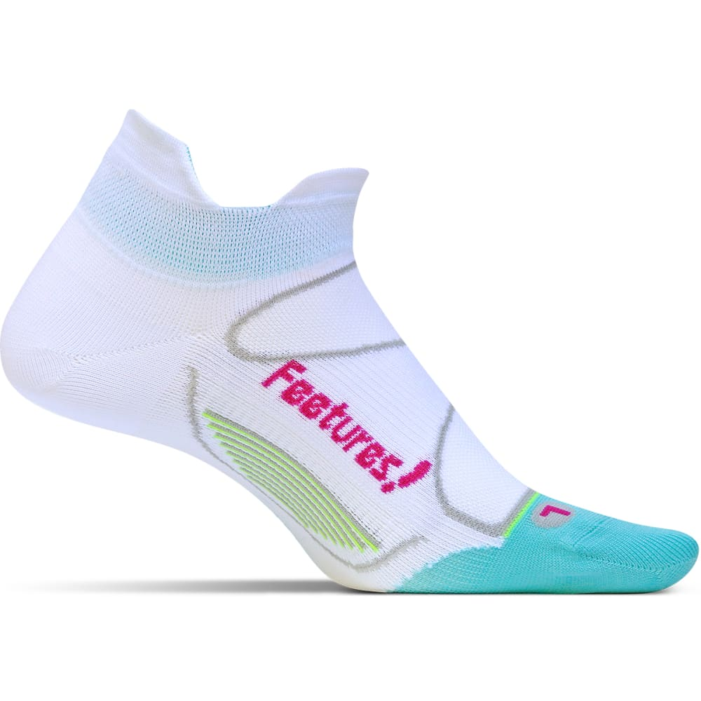 FEETURES! Men's Ultra Light No Show Tab Socks - WHITE/DEEP PINK