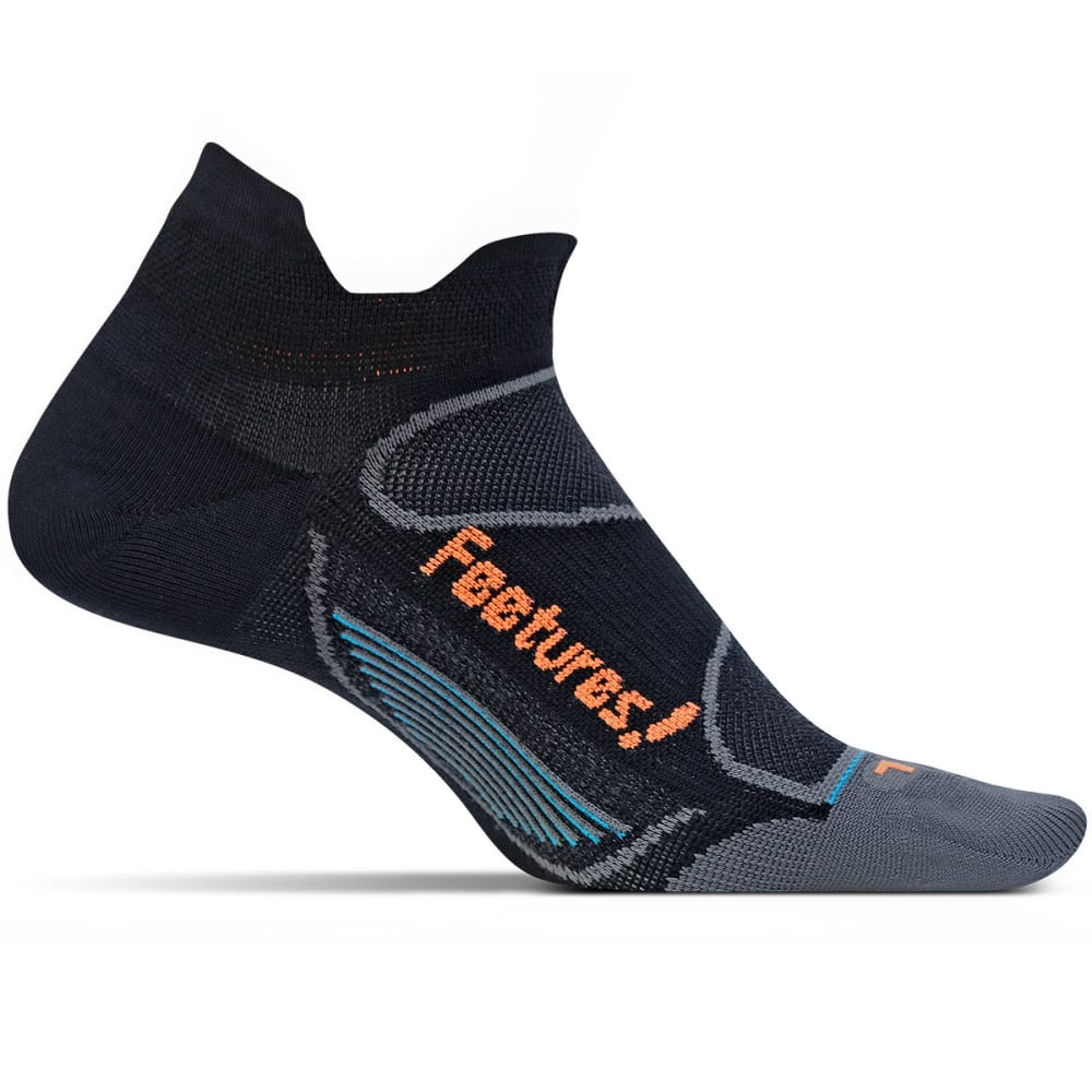 FEETURES! Men's Elite Ultra Light Cushion No Show Socks - BLACK/ELECTRIC ORANG