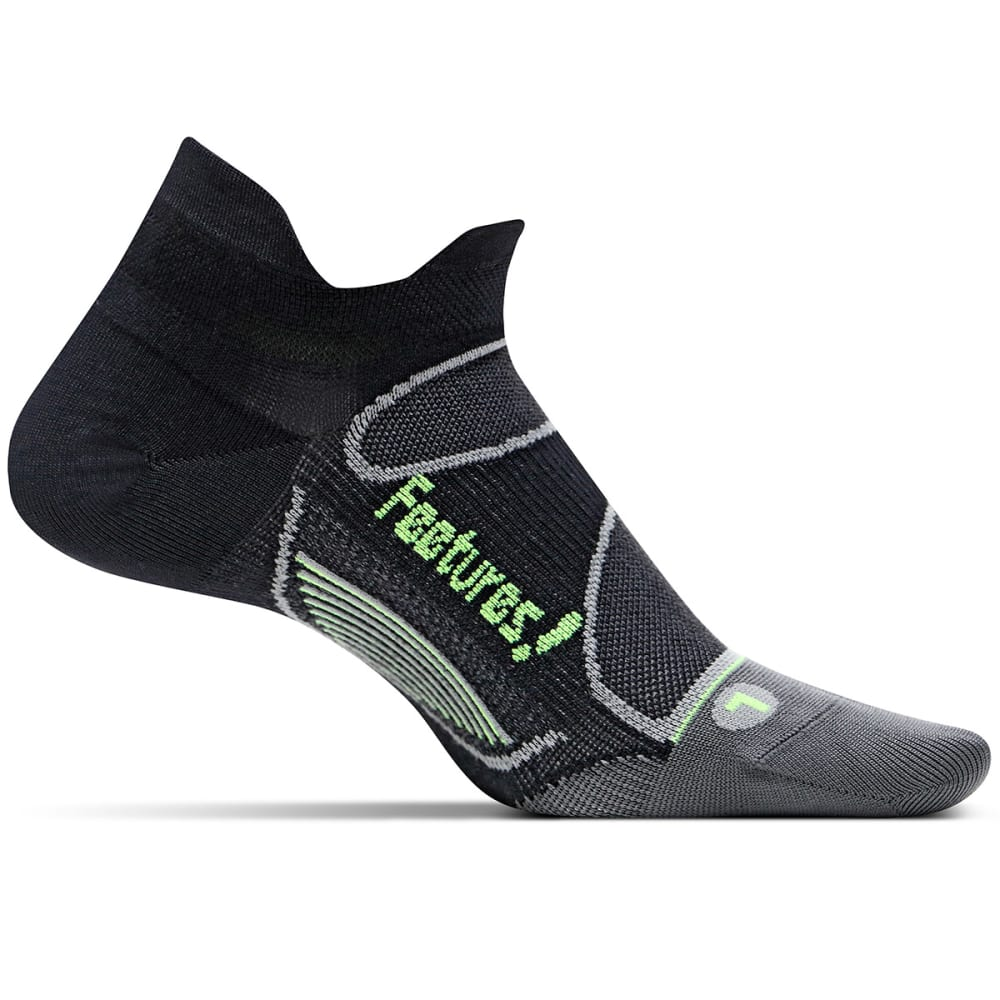 FEETURES! Men's Elite Ultra Light Cushion No Show Socks - BLACK/REFLECTOR