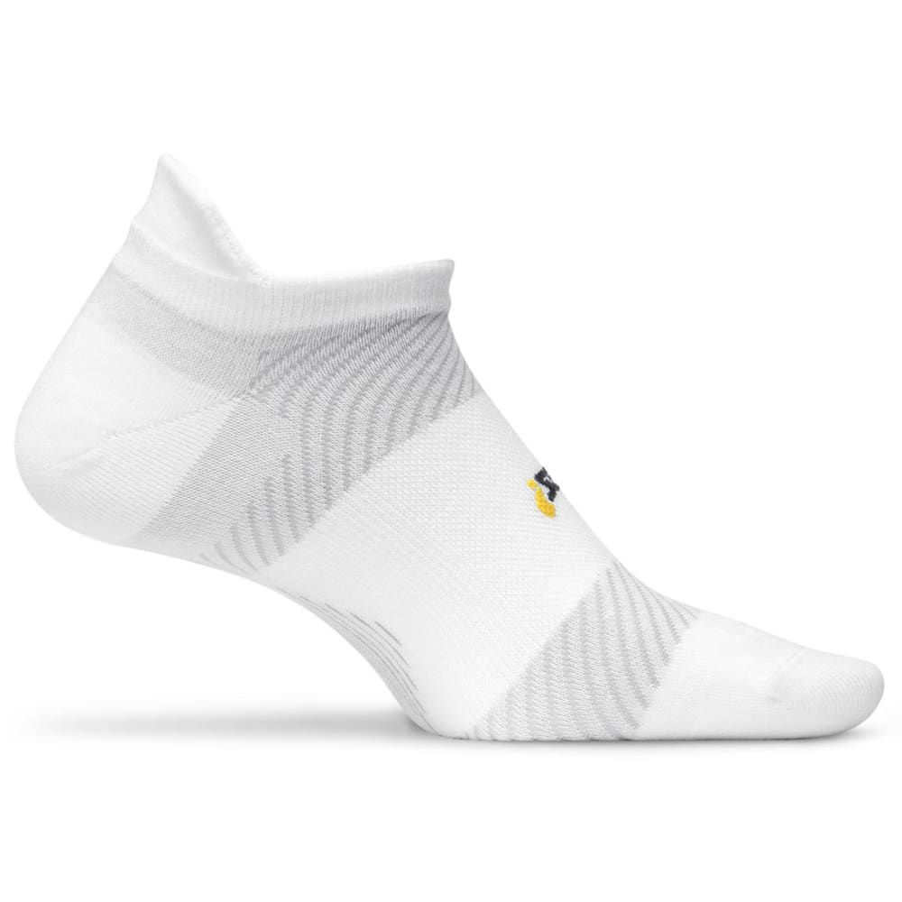 FEETURES! Men's Elite Ultra Light Cushion No Show Socks - WHITE