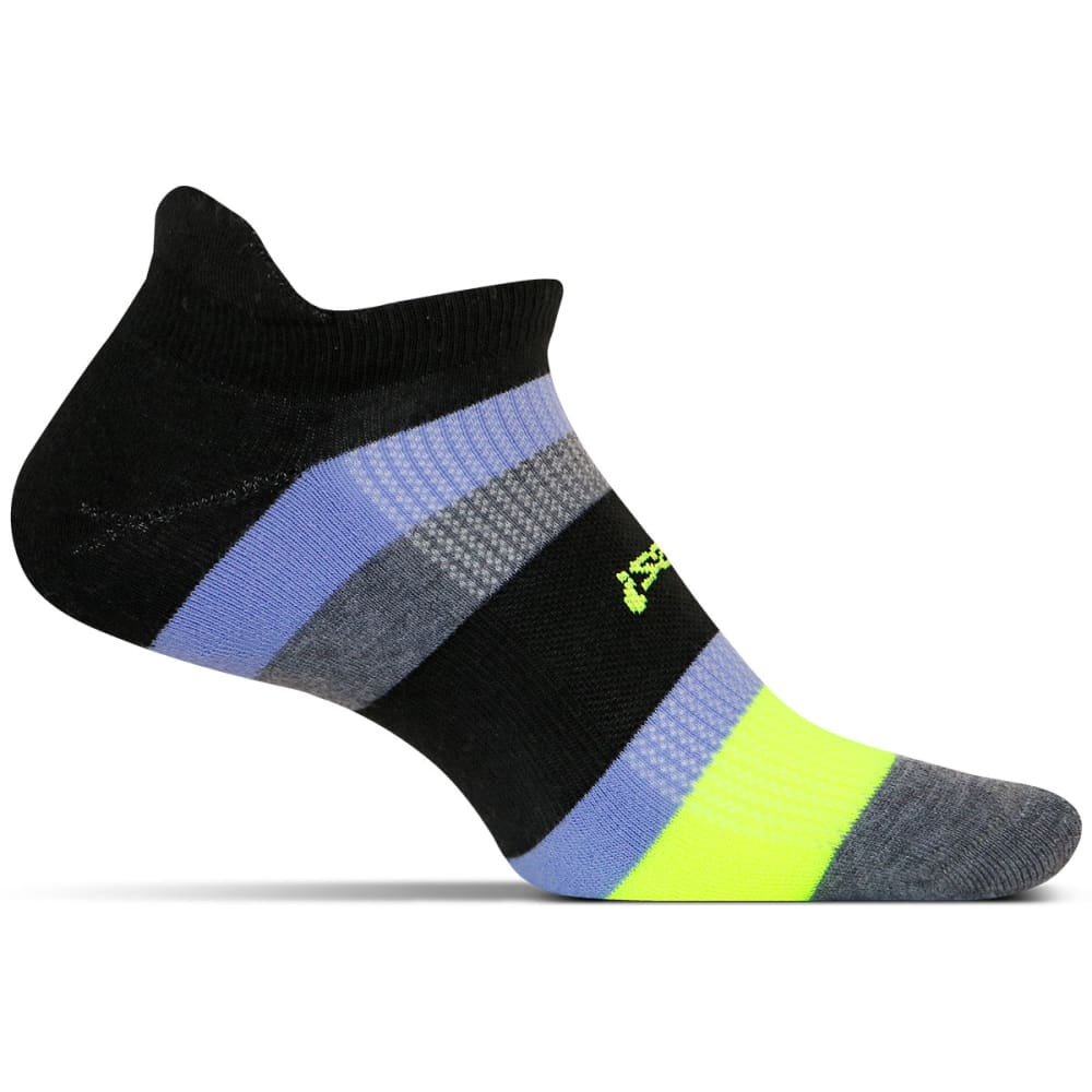 FEETURES! Men's High Performance Light Cushion Stripe Socks - BLACK
