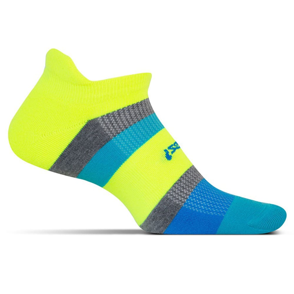 FEETURES High Performance Light Cushion No-Show Tab Socks - MULTI STRIP