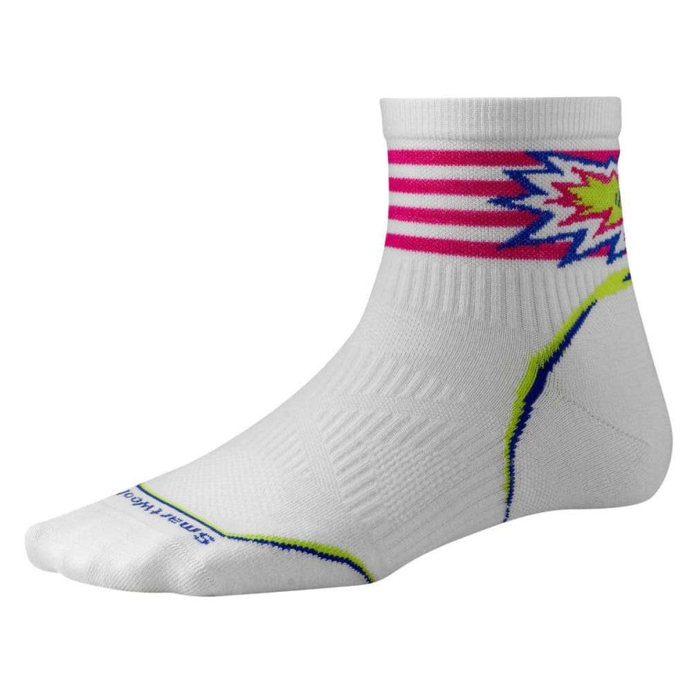 SMARTWOOL Women's PhD Cycle Ultra Light Pattern Mini Socks - WHITE