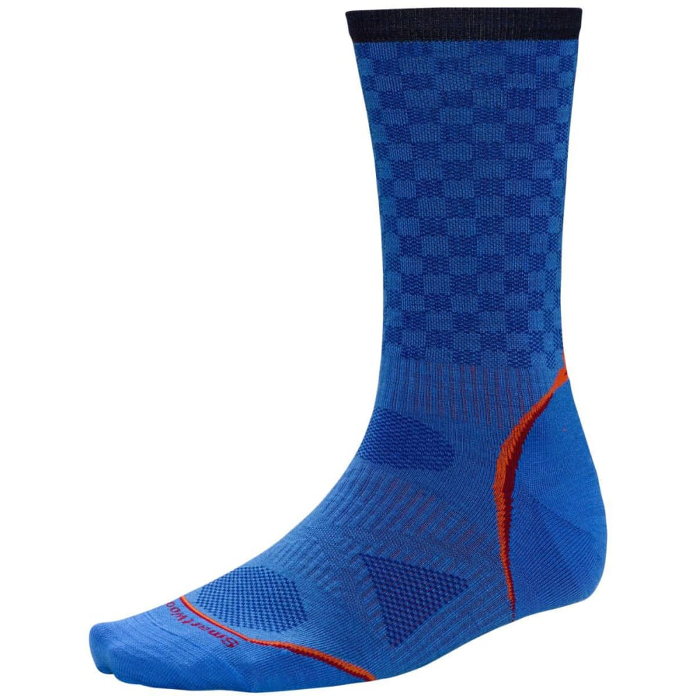 SMARTWOOL Men's PhD Cycle Ultra Light Pattern Crew Socks - BRIGHT BLUE