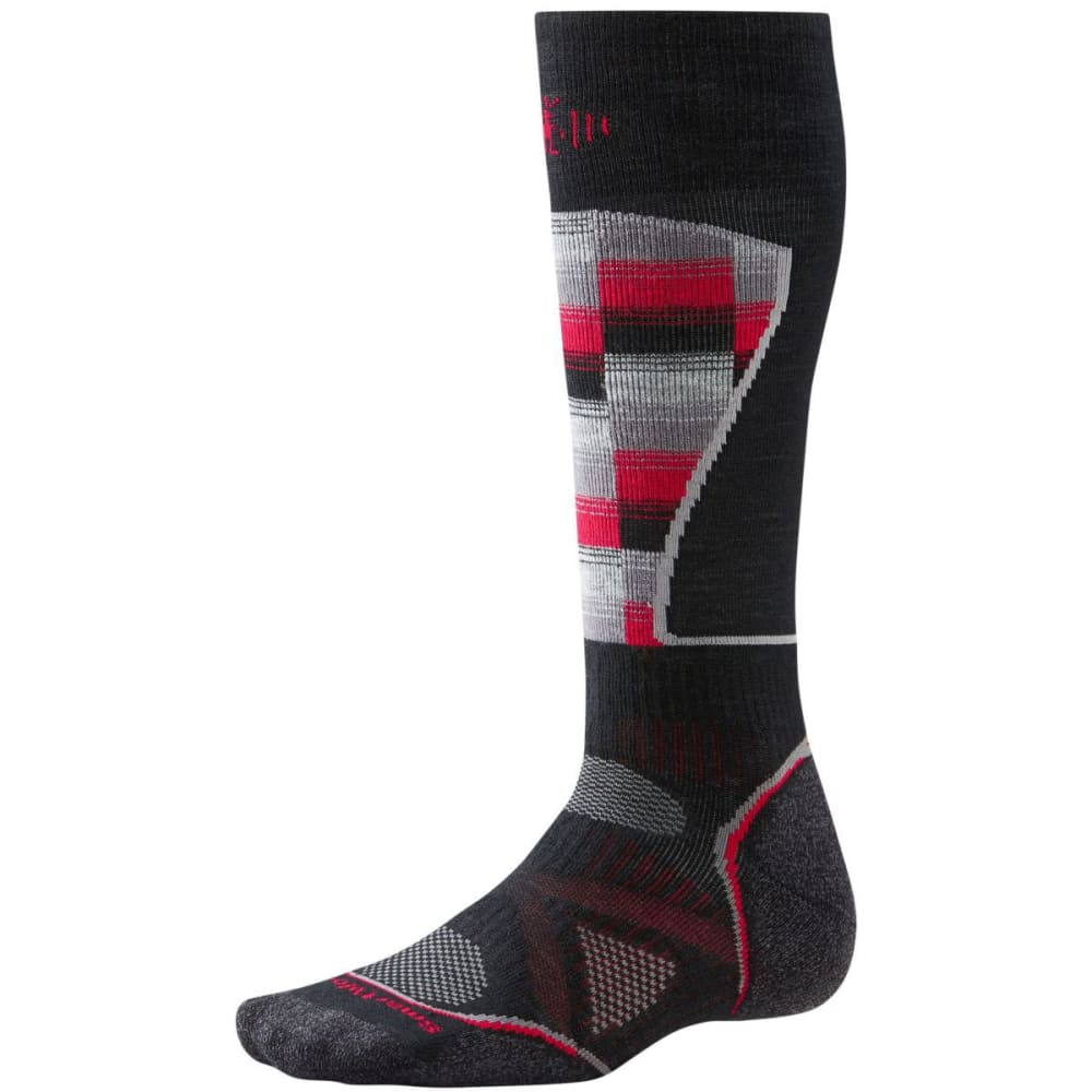 SMARTWOOL Men's PhD Ski Medium Pattern Sock - BLACK/RED 626