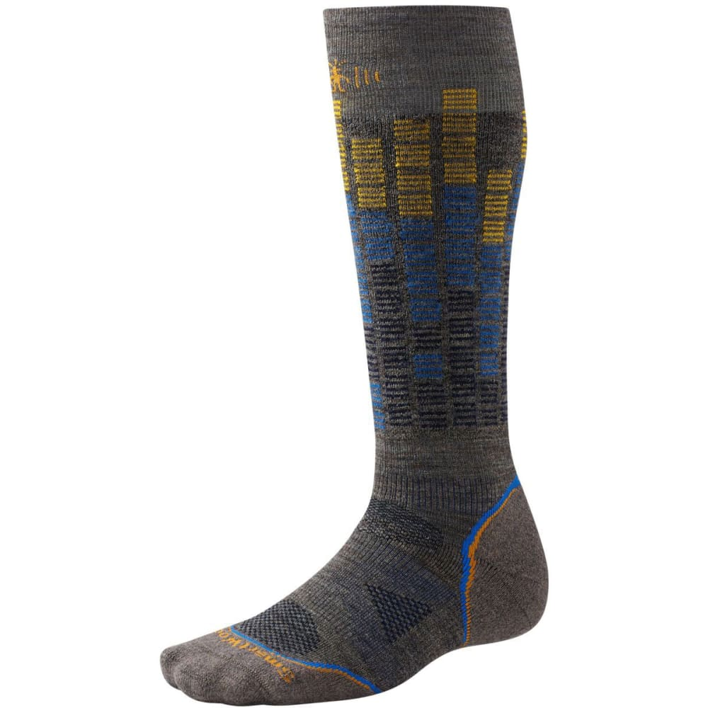 SMARTWOOL PhD Snowboard Light Pattern Socks - TAUPE/NAVY