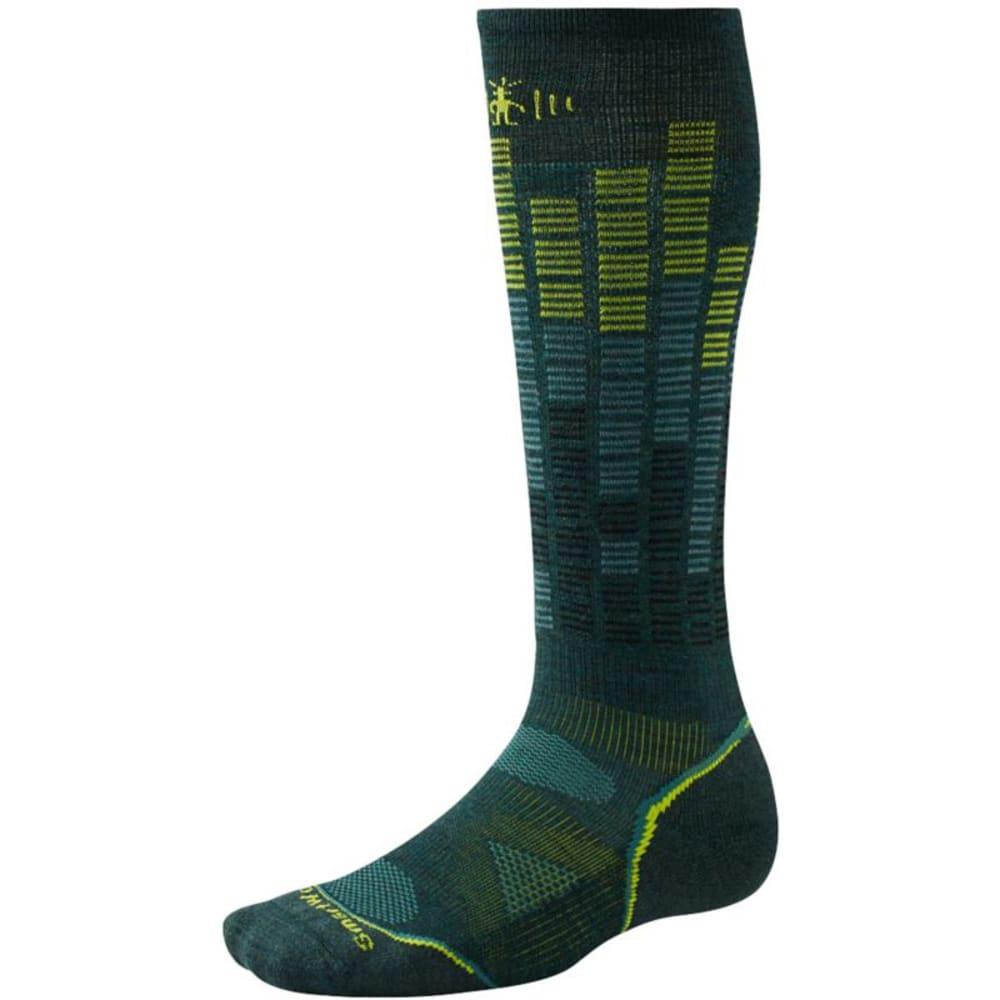 SMARTWOOL PhD Snowboard Light Pattern Socks - BOTTLE GREEN 674