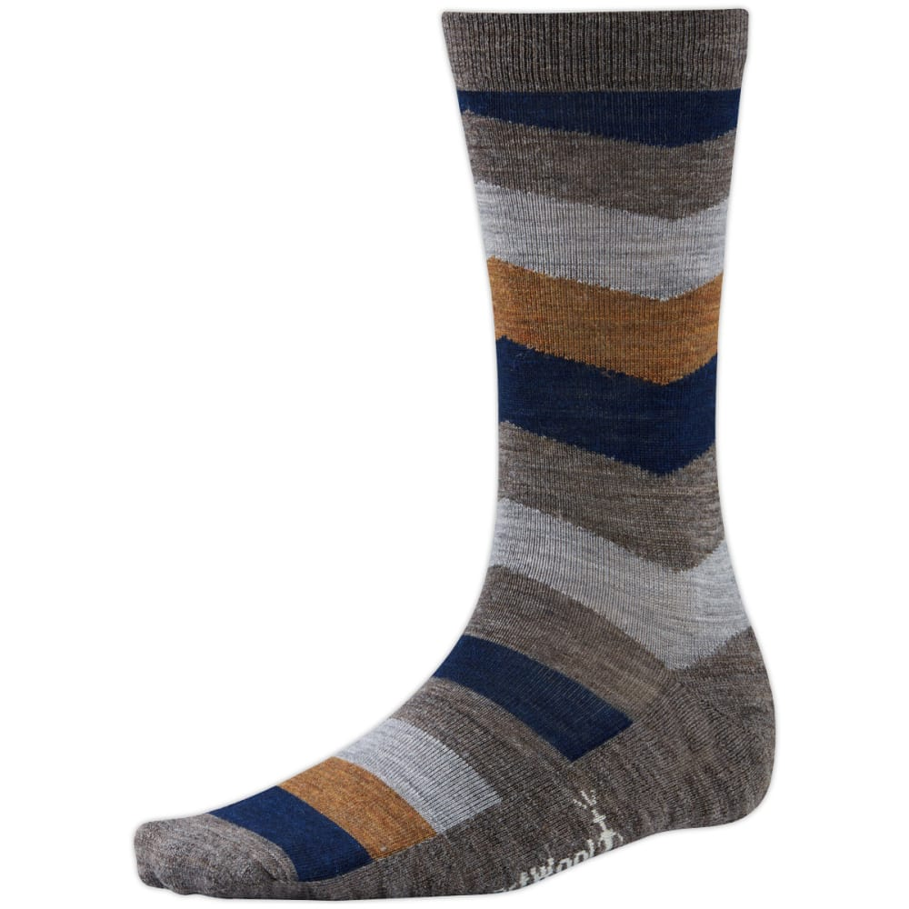 SMARTWOOL Men's Chevron Stripe Crew Socks - TAUPE HEATHER