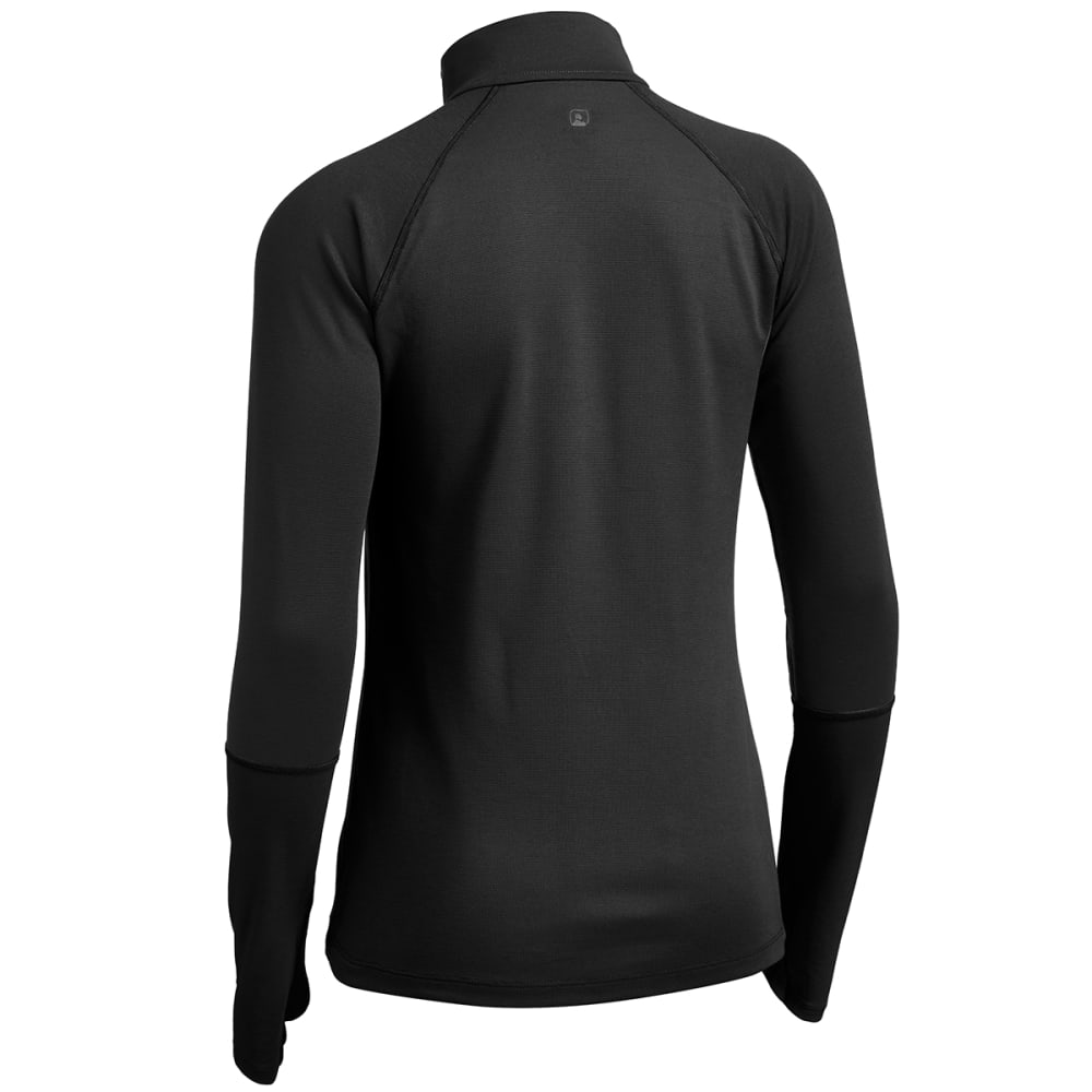 EMS Women's Techwick Midweight 1/4 Zip Baselayer - BLACK