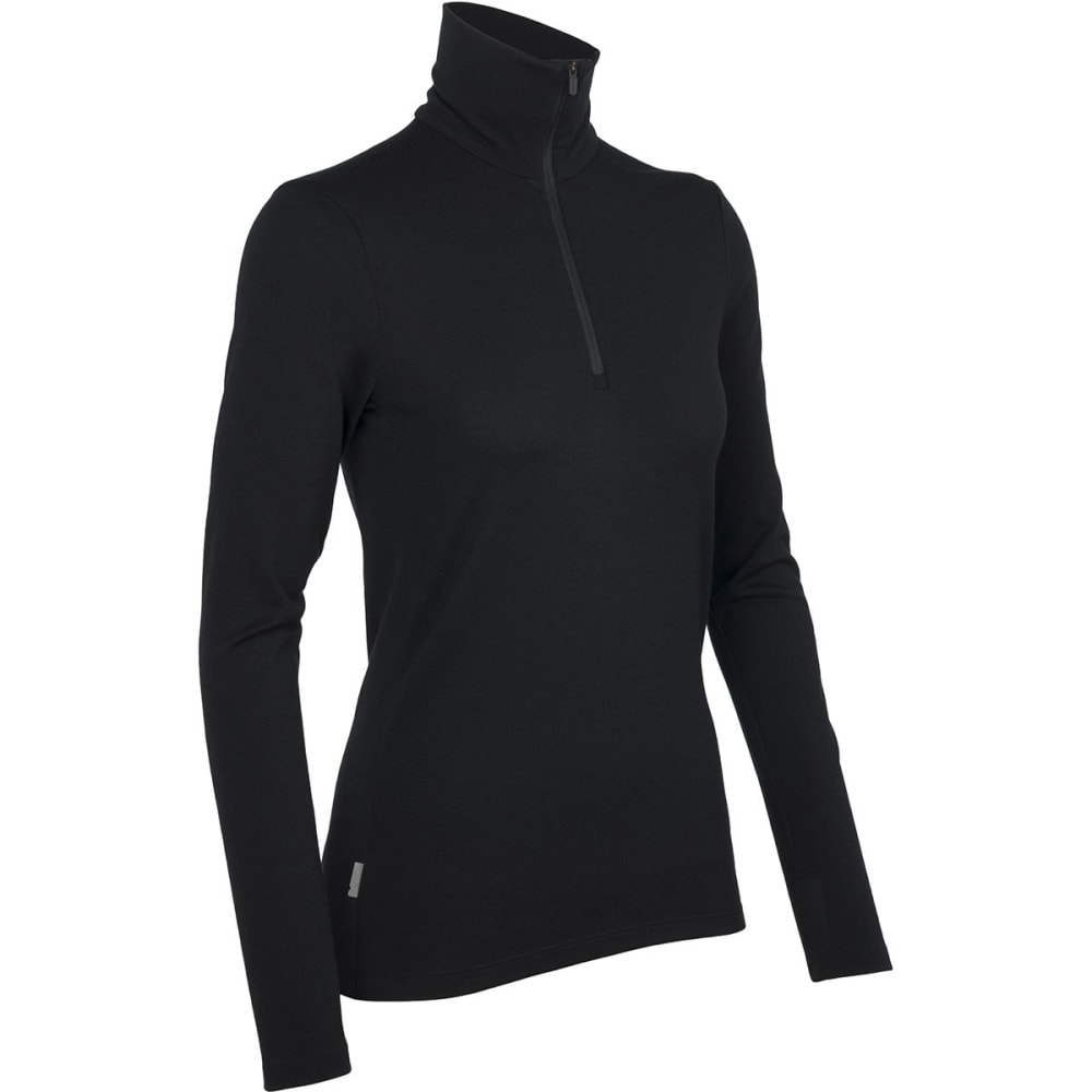 ICEBREAKER Women's Tech Top Midweight 1/2 Zip - BLACK