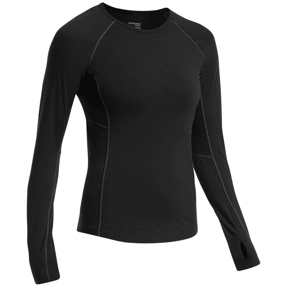 ICEBREAKER Women's Zone Long Sleeve Crewe Neck Shirt - BLACK/MINERAL