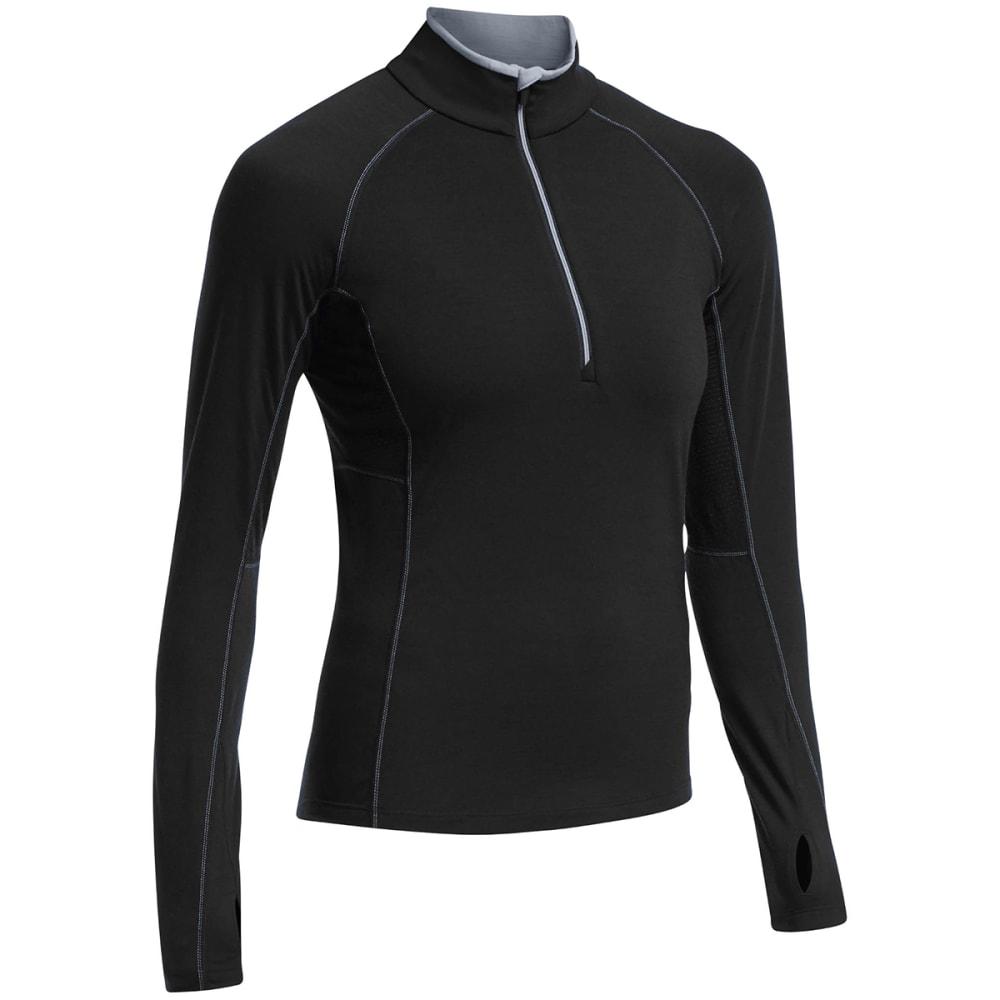 ICEBREAKER Women's BodyfitZONE Zone Long Sleeve 1/2-Zip - BLACK/ MINERAL/ MINE