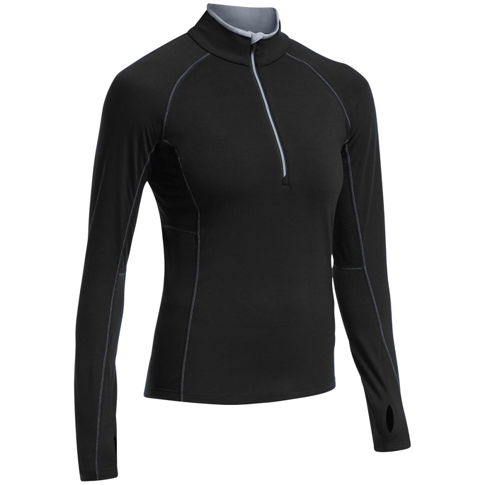 ICEBREAKER Women's Zone Long Sleeve Half Zip Jacket - BLACK/ MINERAL/ MINE