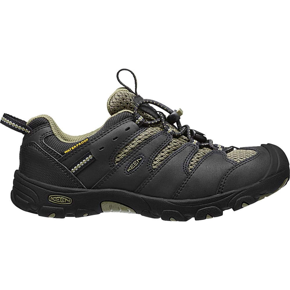 KEEN Boys' Koven Low WP Hiking Shoes, Black/Burnt Olive - BLACK