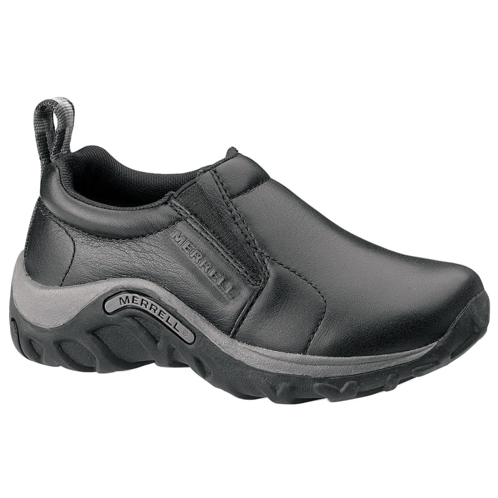 MERRELL Youth Jungle Moc Leather Shoes, Black - BLACK