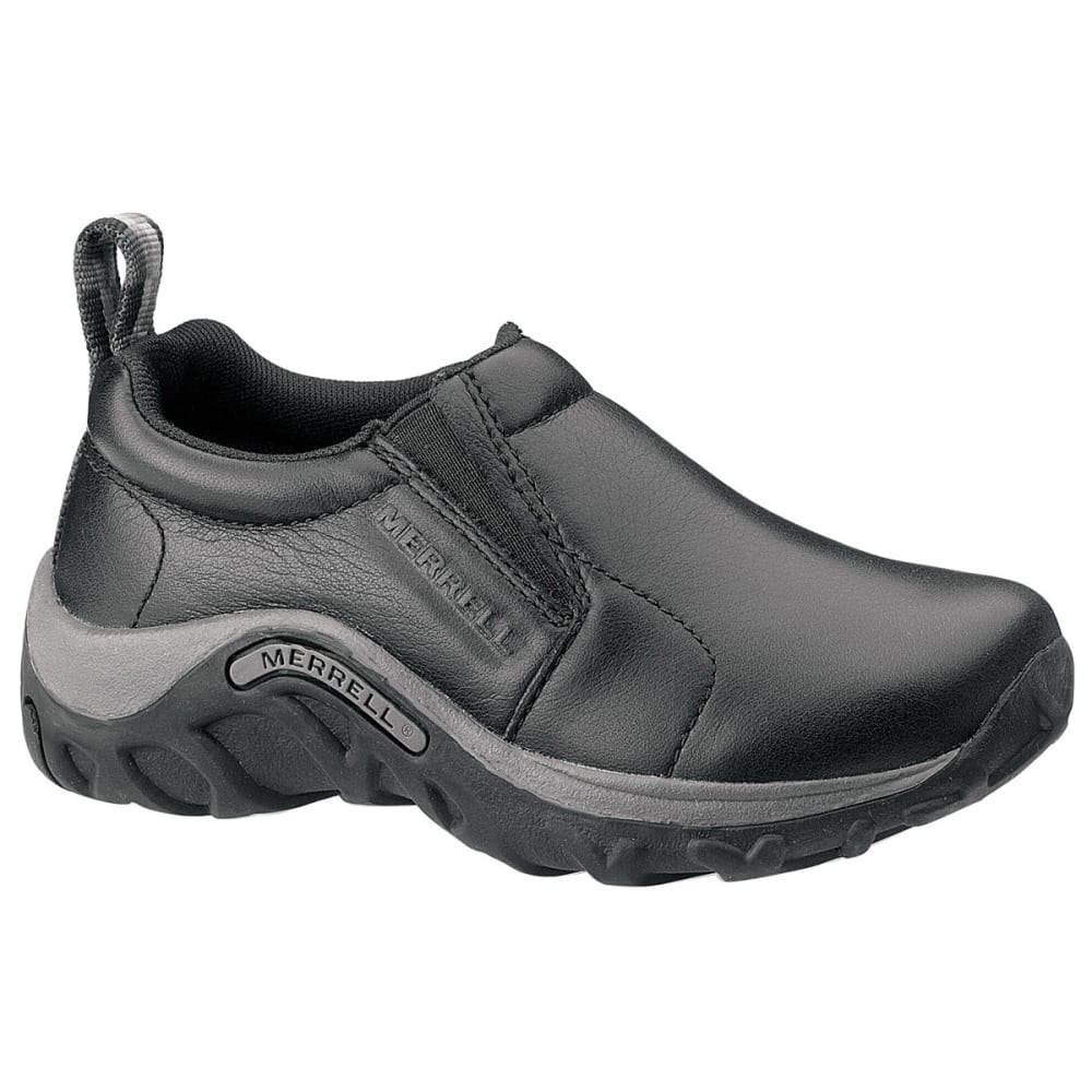 MERRELL Kids' Jungle Moc Leather Shoes, Black - BLACK