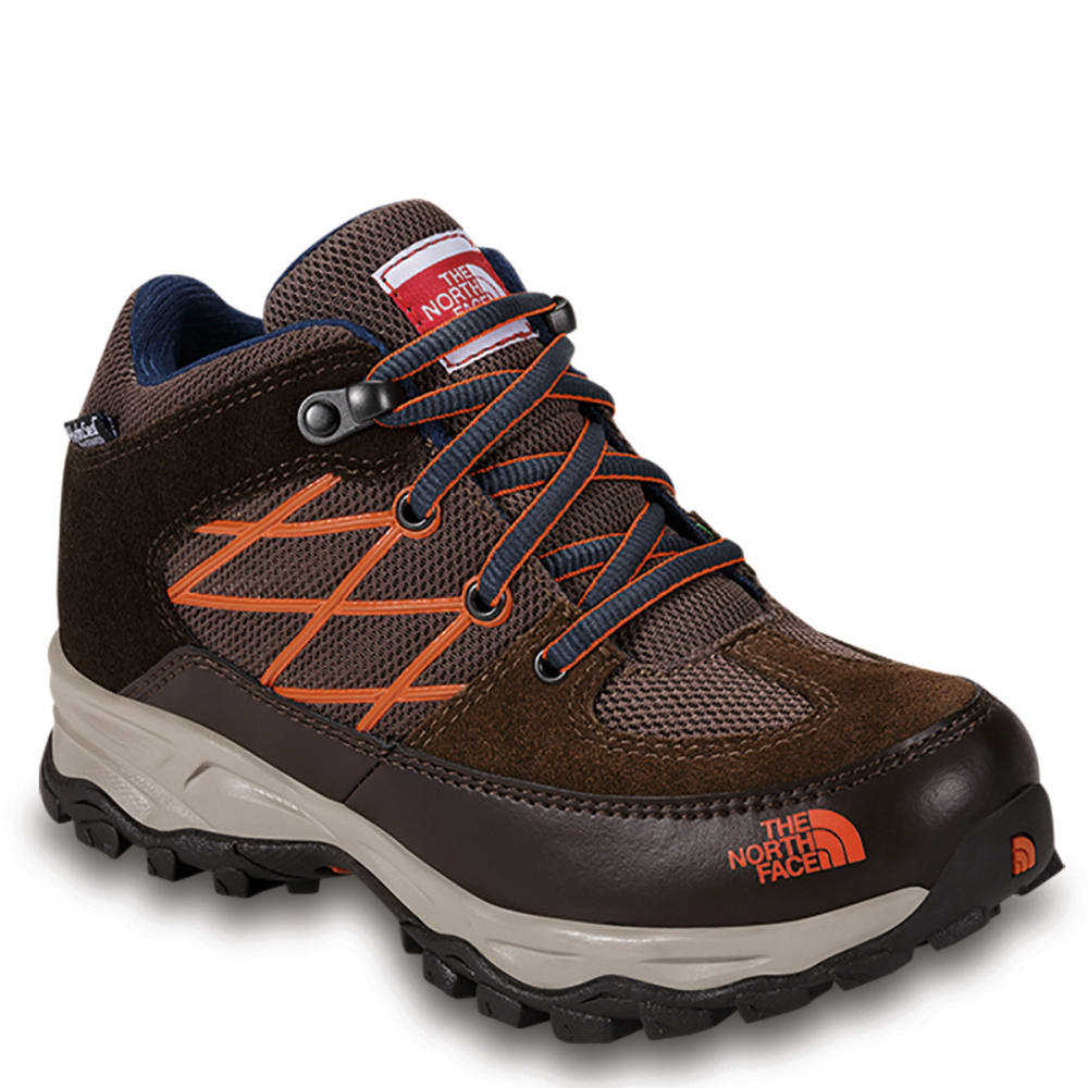 THE NORTH FACE Kids' Storm WP Hiking Boots, Brown/Red Orange - DEMITASSE BROWN