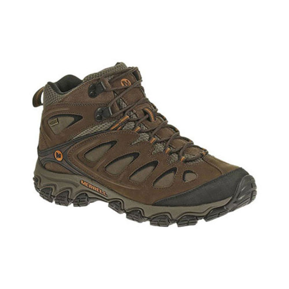 MERRELL Men's Pulsate Mid WP Hiking Boots, Black/Bracken, Wide - BLACK/BRACKEN