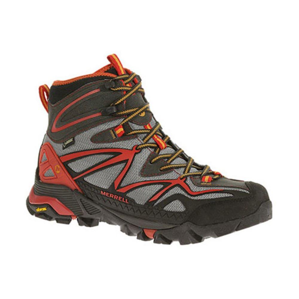 MERRELL Men's Capra Mid Sport GTX Hiking Boots, Light Grey/Red - LIGHT GREY/RED
