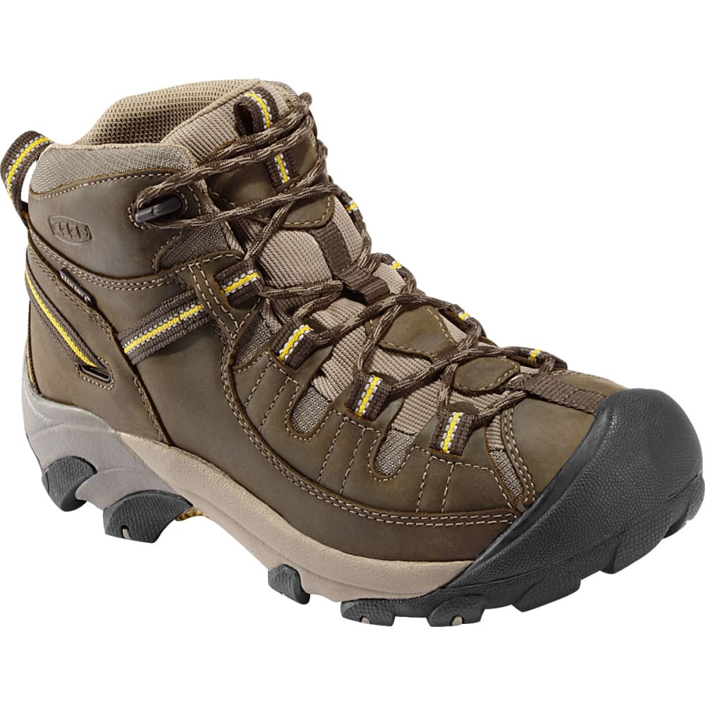 KEEN Men's Targhee II WP Hiking Boots, Black Olive/Yellow, Wide 8