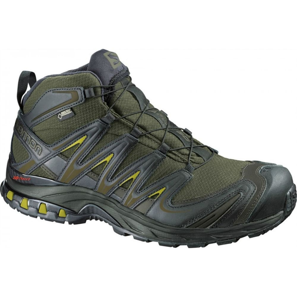 SALOMON Men's XA Pro 3D Mid GTX Hiking Boots, Iguana Green/Black - IGU GREEN/BLK/CORYLU