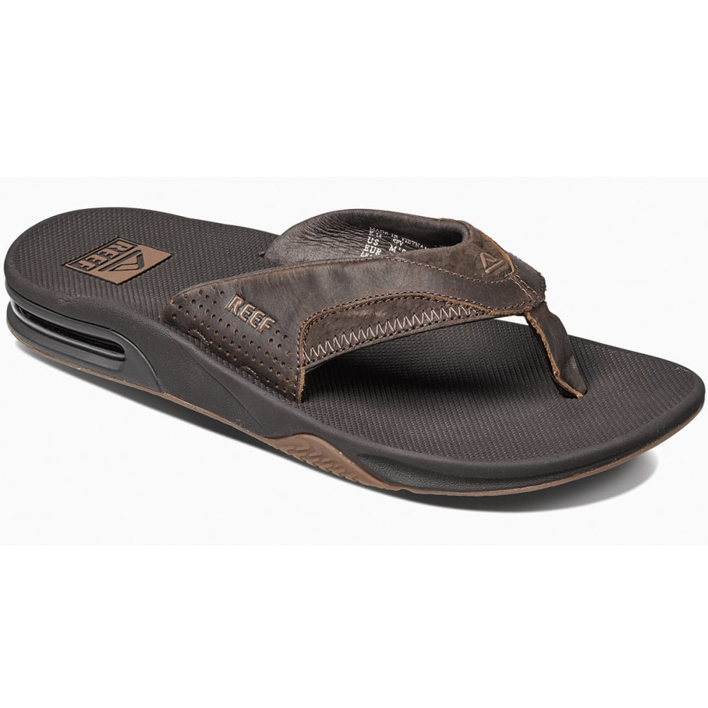 REEF Men's Fanning Leather Flip-Flops - BROWN