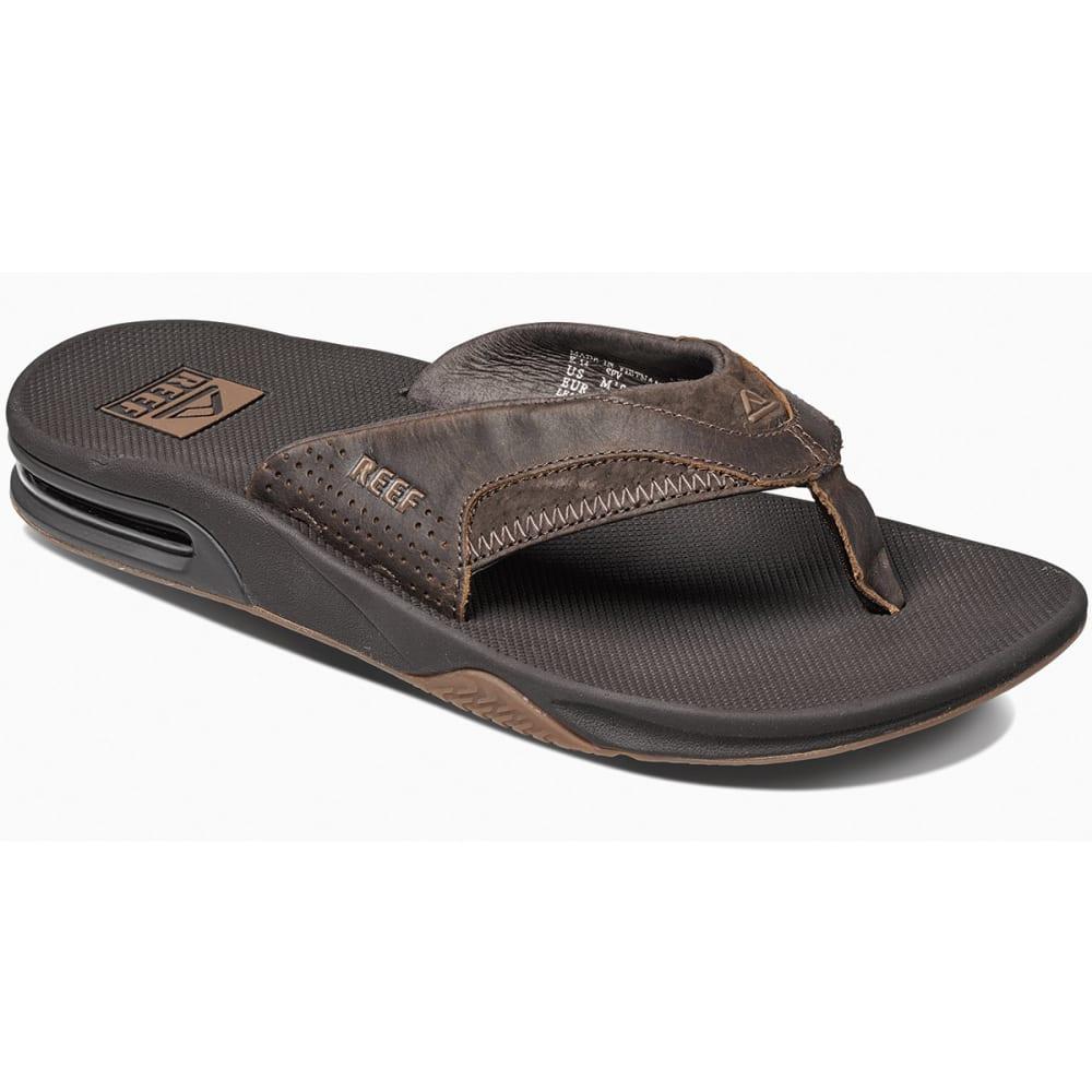 REEF Men's Fanning Leather Flip-Flops, Brown - BROWN