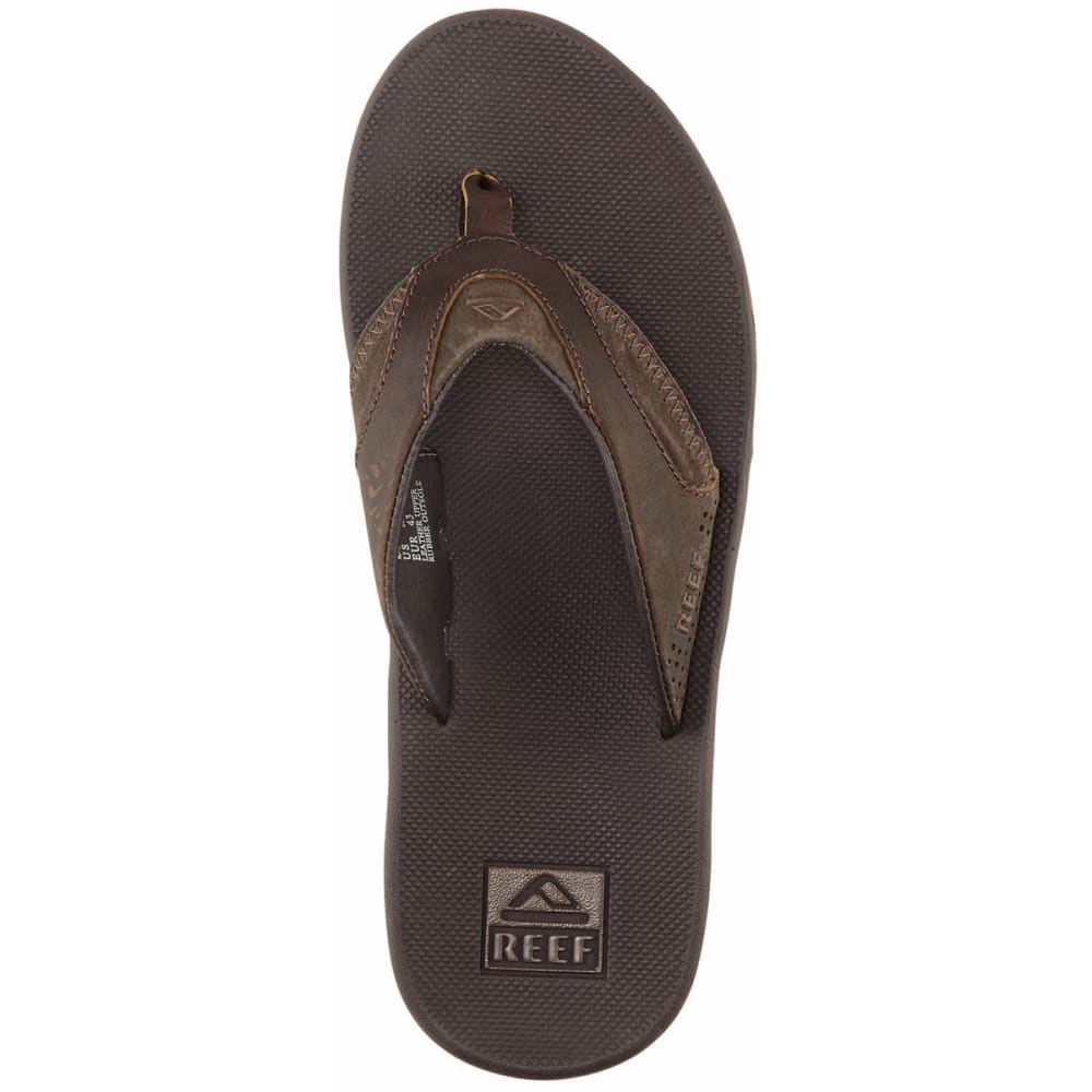 REEF Men's Fanning Leather Flip-Flops, Brown - BROWN