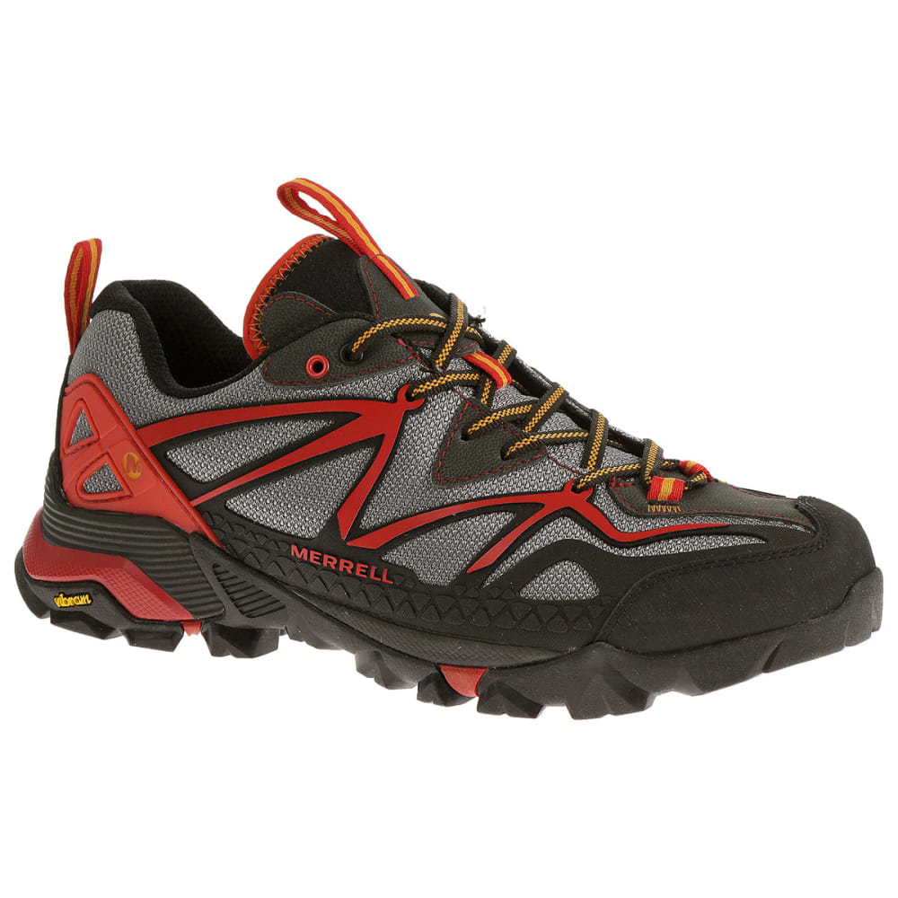 MERRELL Men's Capra Sport Hiking Shoes, Light Grey/Red - LIGHT GREY